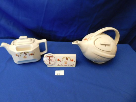 HALL JEWEL T TEAPOTS (2) FOOTBALL SHAPED AND A POINT OF SALES SIGN FOR JEWE