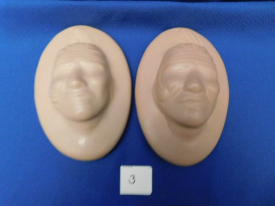 PAIR VAN BRIGGLE WALL PLAQUES WITH MALE INDIAN TAN IN COLOR, MARKED HVM & P