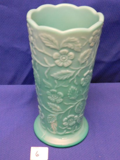 FENTON VASE WITH FLOWERS & PEACOCK, SIGNED W.C. FENTON, MARKED NFGS 1991, B