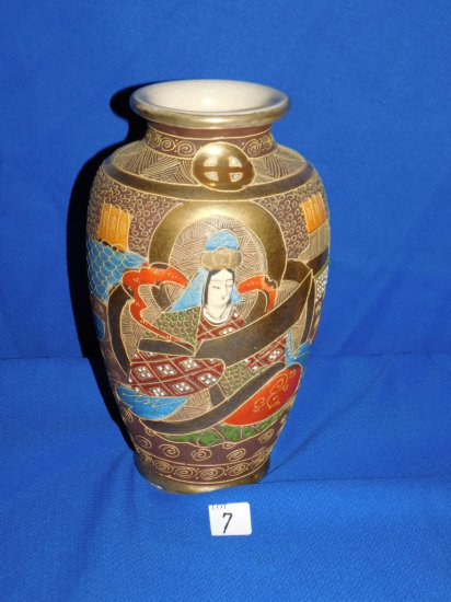 "VASE ORIENTAL MOTIF HAND PAINTED WITH 2 MEN AND A LADY, MEASURES  10"" TALL"