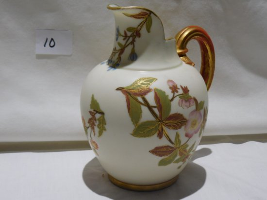 """HAND PAINTED PORCELAIN PITCHER 6"""" TALL RD #29155-1094 APPLIED HANDLE"""
