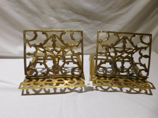 """PAIR BRASS  BOOK HOLDERS ADJUSTIBLE 9"""" WIDE X 7"""" TALL"""