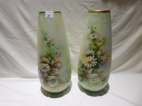 """PAIR VASES 17 1/2"""" TALL HEINRICH BAVARIA GERMANY HAND PAINTED DAISY WITH GO"""