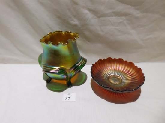 """UNSIGNED ART GLASS FOOTED VASE IN A TIFFANY  STYLE BOWL 6"""" TALL & CARNIVAL"""