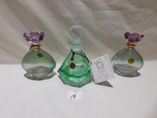 (3) PERFUME BOTTLES LEAD CRYSTAL GARANZIA GLASS COLLEZIONE ITALY & SC GENUI