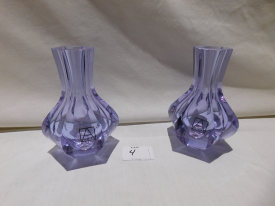 """ART GLASS BUD VASES PAIR  SIGNED DROBNIK, 5"""" TALL X 3"""" ROUND MARKED ON THE"""