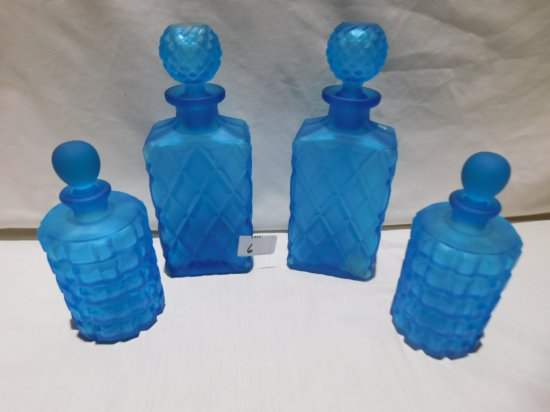 """FROSTED SATIN GLASS SET OF 5 DECANTERS BLUE, 8 3/4"""" TALL & 6 1/2"""" ON SMALLE"""