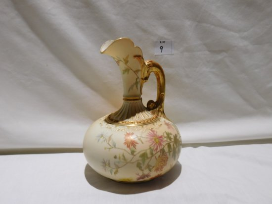 """HAND PAINTED PORCELAIN PITCHER RDRD #N043555-1136 STAND 7 1/2"""" TALL GOLD OV"""