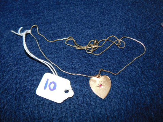 14K HEART PENDANT AND RED STONE CHARM IN PLATED CHAIN IN 14K
