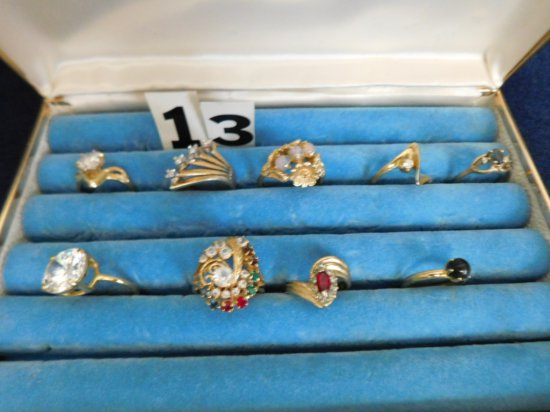 9 ASSORTED UNMARKED RINGS