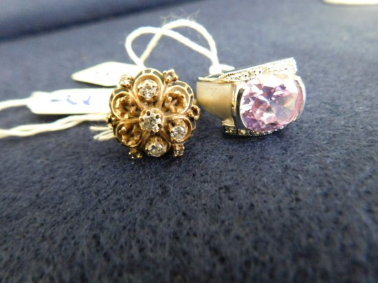 2 RINGS 14K GOLD WITH 8 DIAMONDS RING AND COSTUME RING WITH PURPLE CENTER S