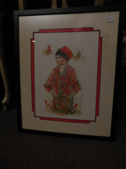 "HIBEL PRINT BOY IN A RED KOMONA & RED HAT, MEASURES 18"" X 22"""