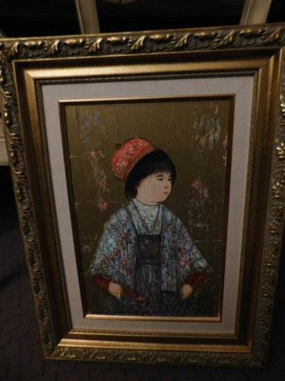 "HIBEL SERIOGRAPH WITH OIL, BOY RED HAT AND COLORFUL KOMONO, 22 1/4"" X 17"""