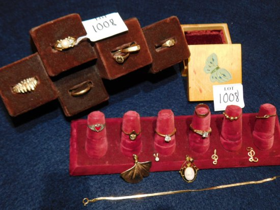 GROUP: BUTTER FLY BOX PLATED FLOWER; 14K RING WITH PEARL CENTER; 14K RING W