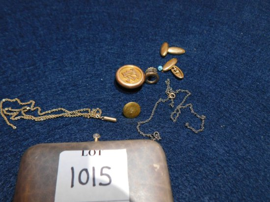GOLD FILLED AND 14K CUFF LINKS; 2 CHAINS; BUTTON ETC.
