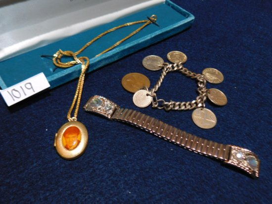GROUP: ELVIS LOCKED PLATED; COIN BRACELET AND BAND