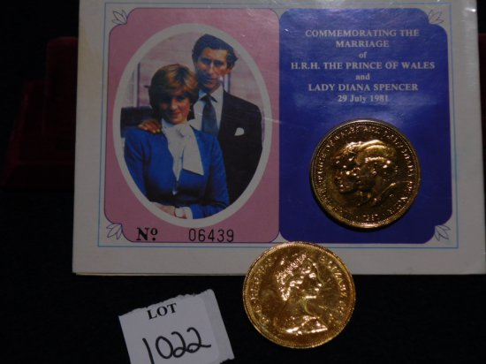 COINS TWO COMMEMORATING THE MARRIAGE OF LADY DIANA SPENCER NO 06439