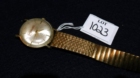 WATCH GOLD FILLED HAMILTON MOSLER WOUND TIGHT, BAND BROKEN BAD CRYSTAL