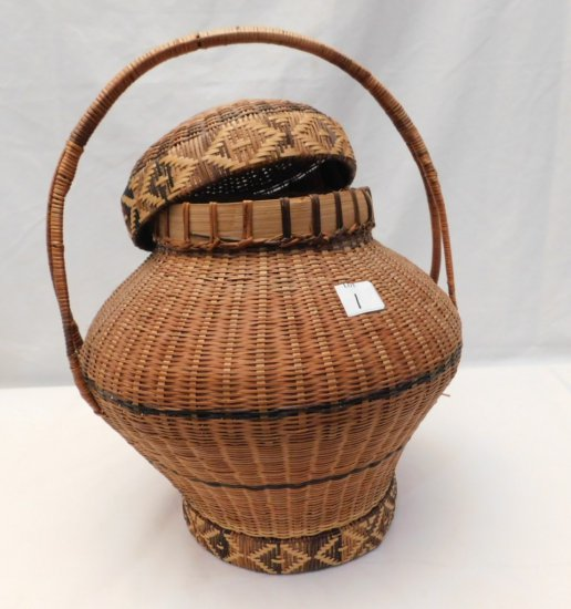 """WOVEN BASKET; CIRRCA 1890 COVERED INDIAN BASKET, 17"""" TALL X 14"""" WIDE AT THE"""