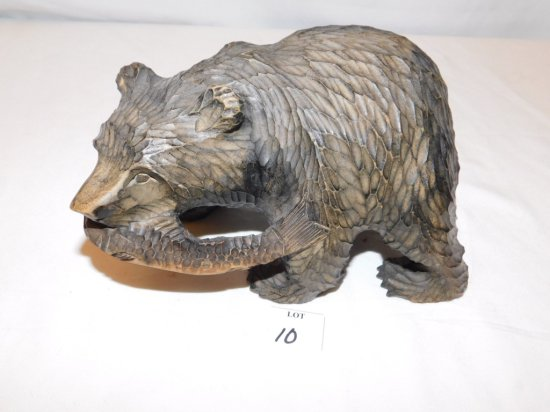 """WOODEN CARVED BEAR WITH FISH IN ITS MOUTH, 5 1/2"""" TALL X 9"""" WIDE"""