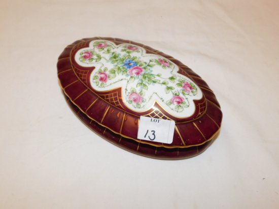 """MAROON HAND PAINTED DISH WITH LID. MARKED 'P T G FRANCE'  MEASURES 3"""" TALL"""