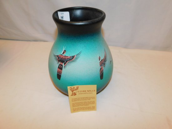 NATIVE AMERICAN POTTERY GREEN & BLACK HAND PAINTED FROM CEDAR MESA, SIGNED