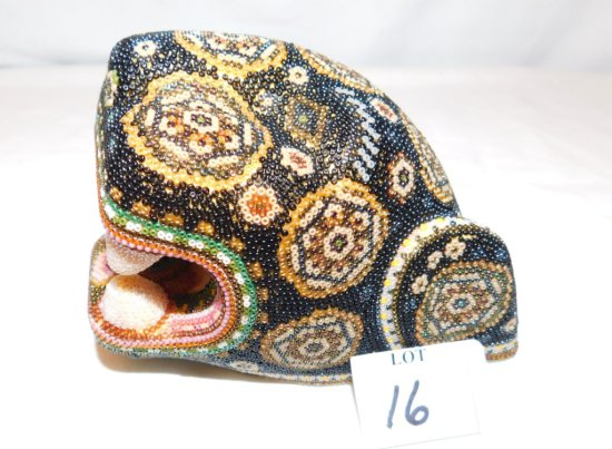 HAND BEADED MASK WOODEN SIGNED MARIO LOPEZ, MULTI COLOR BEADS, CHEETA IN BO