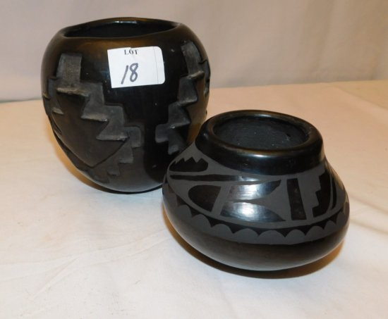 """SOUTH WEST ETCHED POTTERY VASES 2 PIECES. 5 1/2"""" X 5"""" AROUND, 4"""" TALL X 5"""""""