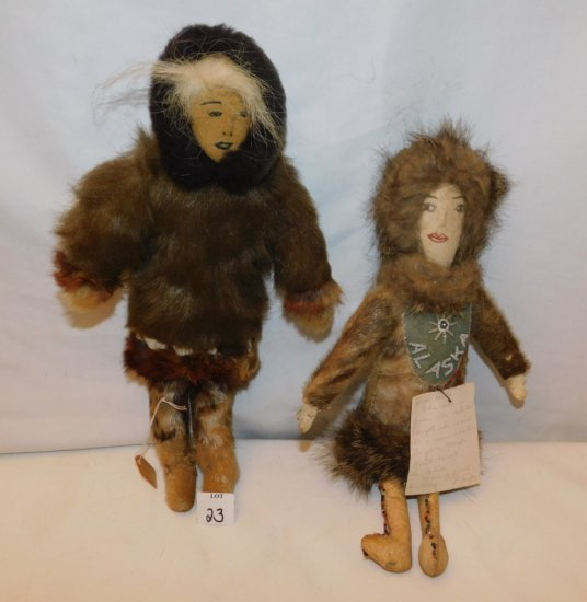 """2 ESKIMO DOLLS DRESSED IN REAL FUR CLOTHING 1930'S MEASURES 13"""""""