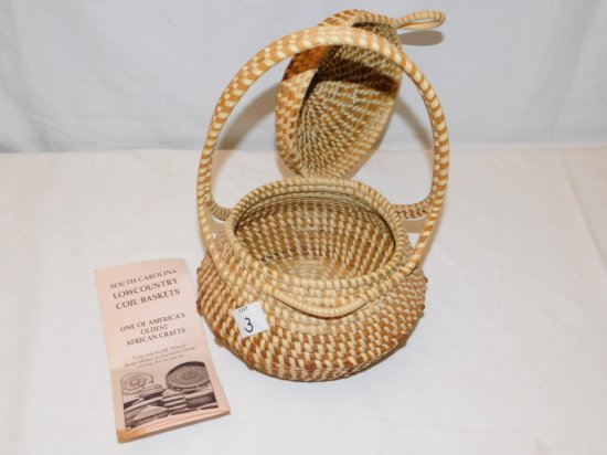 """COIL BASKET FROM SOUTH CAROLINA HAND CRAFTED WITH LID AND HANDLE, 12"""" TALL"""