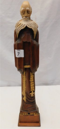 WOODEN STATUE OF A RELIGIOUS FIGURE ORIENTAL LOOKING MAN WITH LONG WHITE BE