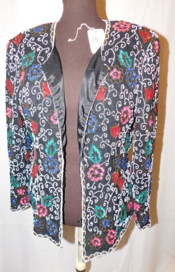 JACKET:  NITELINE, 100% SILK, BEADS & SEQUINS, WHITE, RED & BLUES,  MADE IN
