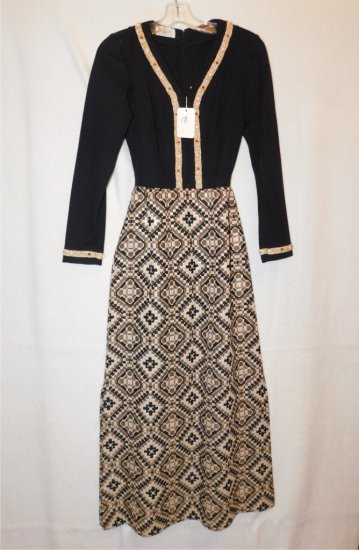 DRESS,  R&K KNITS, BLACK TOP, LOWER PORTION WITH BLACK, GOLD & METALIC THRE