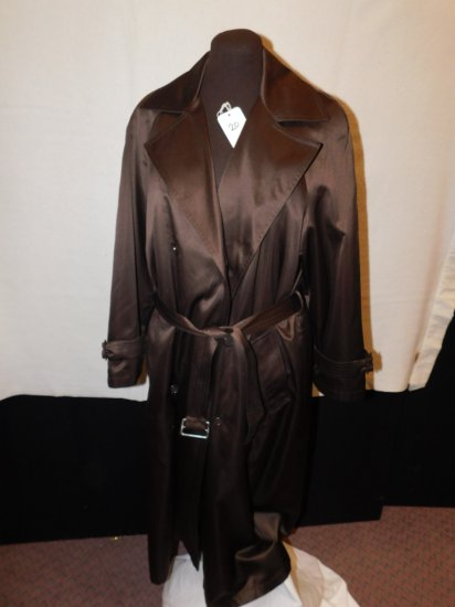 RAINCOAT:  SAKS FIFTH AVENUE, SIZE 10, CHOCOLATE BROWN, BELTED, BACK BUTTON