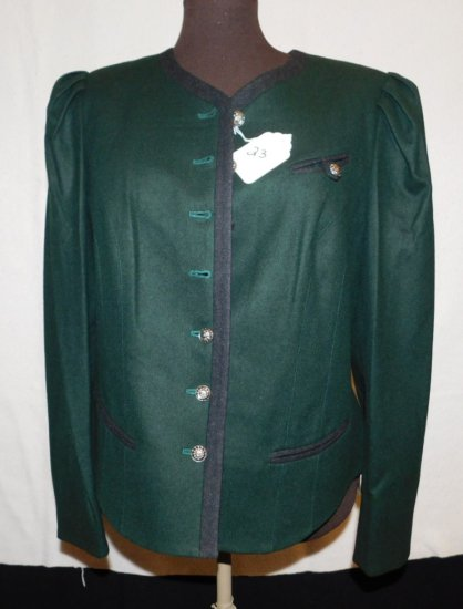 BLAZER:  PERRY LANDHAUS DESIGN, EMERALD GREEN WITH SILVER BUTTONS.  BLACK T
