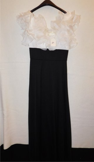 GOWN:  FORMAL,  RUFFLED WHITE TOP, SLEEVELESS, BLACK BOTTOM.  APRROXIMATE S