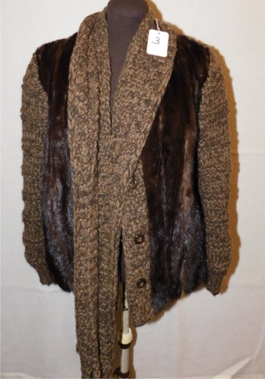 JACKET:   FUR & WOOL JACKET WITH A SCARF; GALLERIES FUR FOR JOSEPH HORNES,