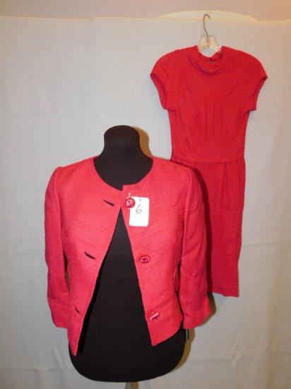 DRESS:  SALMON COLORED DRESS WITH MATCHINGJACKET; 100% RAYON; MARKED  SIZE