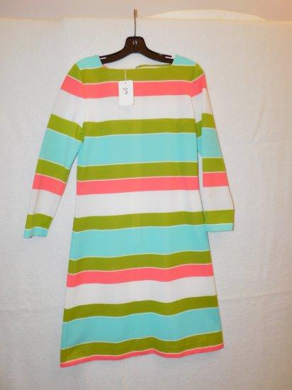 DRESS SET:  VALLEY,  SIZE 8, SALMON/OLIVE GREEN/PALE BLUE/WHITE STRIPED PAT