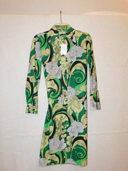 DRESS:   LADY BAYARD, SIZE 7-8, BUTTON FRONT,  GREEN/WHITE/BLACK FLORAL PAT