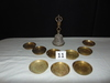 "9 COASTERS & BRASS BELL, SILVER IN COLOR, MEASURES 7.5"" TALL, 3"" AROUND COA"