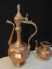 "PERSIAN WATER JUG & WATER VESSEL (OBTAINED IN NEW DELHI), COPPER, 17"" TALL,"