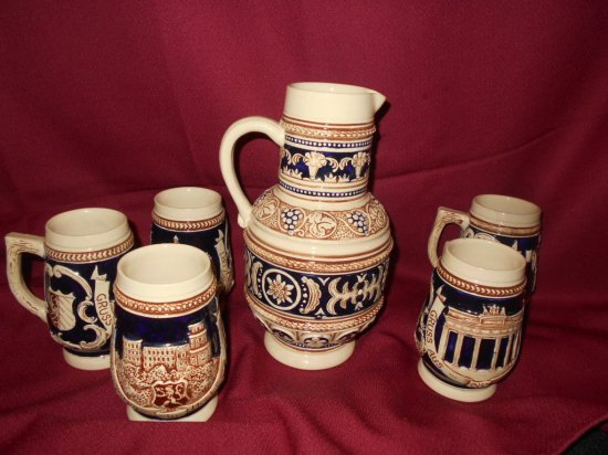 GERMAN PITCHER & MUGS