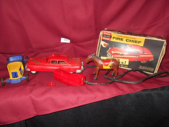 TIN HORSE, FRICTION CAR & FIRE CHIEF CAR
