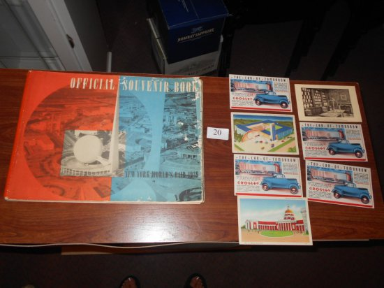 1939 POST CARDS 7 & OFFICIAL SOUVENIER BOOK WORLDS FAIR 1939