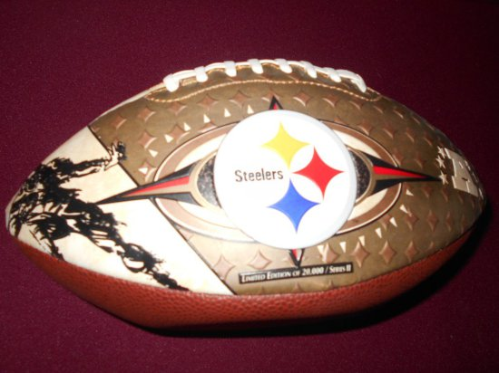 FOOTBALL-STEELERS 4 TIME SUPER BALL CHAMPIONS IN CASE LIMITED EDITION OF 20