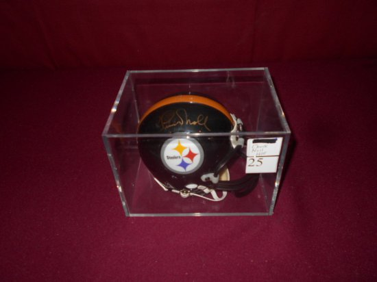 RIDDELL STEELERS MINI HELMET IN ACRYLIC CASE AUTOGRAPHED BY HOF'ER CHUCK NO