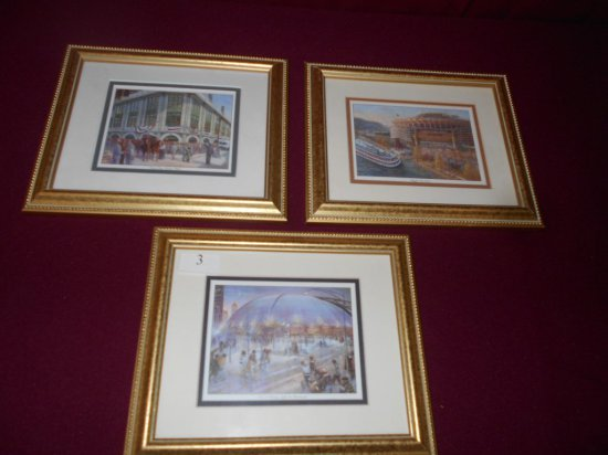 FRAMED SET OF 3 (SIGNATURE ART CO. BETTY REESE PRINTS: FORBES FIELD, CIVIC