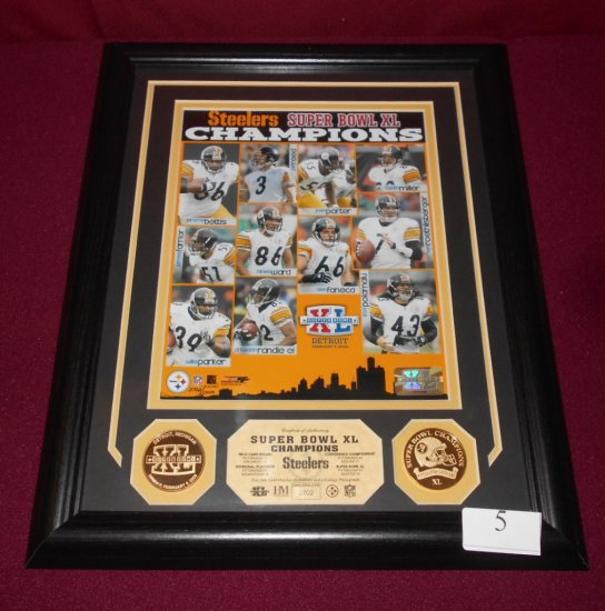 PLAQUE-STEELER SUPERBOWL XL CAMPS FRAMED/ MATTED PLAQUE W/2-24K PLATED COIN
