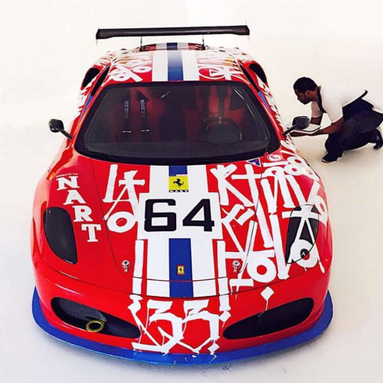 "RETNA   ""ART CAR"" 2007 Ferrari F430 Challenge Tribute to NART (North American Racing Team)"